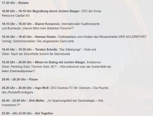 Programm der Deutschen Rohstoffnacht in Stuttgart
